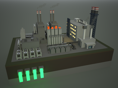 🔶 Voxel Project: The Chemical Plant chemical plant speedart voxelart 3d magicavoxel voxel