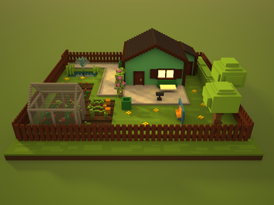 🔶 Voxel Project: The Allotment Garden allotment garden nature garden speedart voxelart voxel magicavoxel 3d