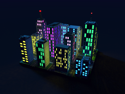 🔶 Voxel Project: The City skyscraper city lights night architecture voxelart voxel magicavoxel construction 3d