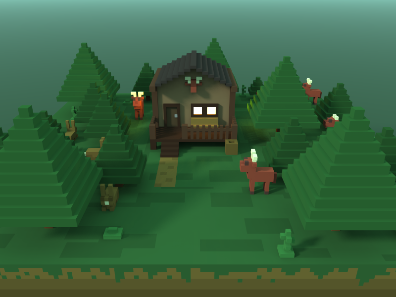 🔶 Voxel Project: The Hunting Lodge hunting lodge green trees forest lodge voxelart voxel speedart nature magicavoxel 3d
