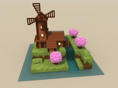 🔶 Voxel Project: The Mill mill voxelart voxel speedart nature magicavoxel 3d