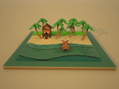🔶 Voxel Project: The Palm Beach ocean palms beach voxelart voxel speedart nature magicavoxel 3d