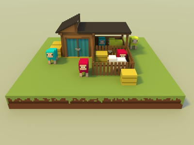 🔶 Voxel Project: The Sheep Stall bright day construction nature speedart voxelart voxel magicavoxel 3d