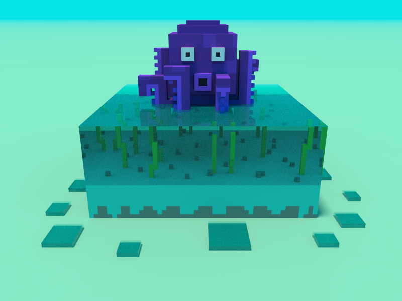 🔶 Voxel Project: The Octopus ocean sea unserwater water blue beach bright day nature speedart voxelart voxel magicavoxel 3d