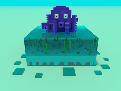 🔶 Voxel Project: The Octopus ocean sea unserwater water blue beach bright day nature speedart voxelart voxel magicavoxel 3d
