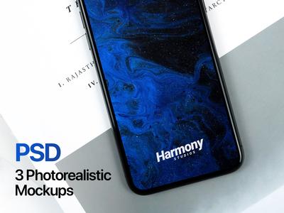 3 iPhone X Photorealistic Mockups