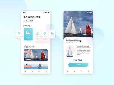 Travel App boat sea ui design yacht travelling travel app travel mobile catalog cards ui digital ui design app