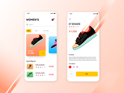 Store app concept space list colorful shop app sneakers shoes shop mobile catalog cards ui digital ui design app