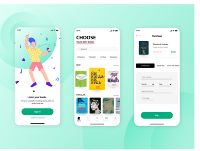 AudioBook App menu catalog cards ui digital ui app app design audio audiobook apple book