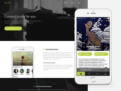 Alexi - Home read books responsive website interface user design web application app dashboard home