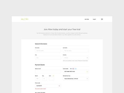 Alexi - Sign Up desktop responsive sign up user web interface design application app