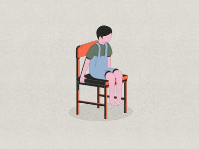 Kid on a Chair sit character texture dots kid chair animation motion motion design parallel studio illustration