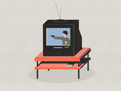 TV - life in vertical tv gun television parallel studio illustration animation