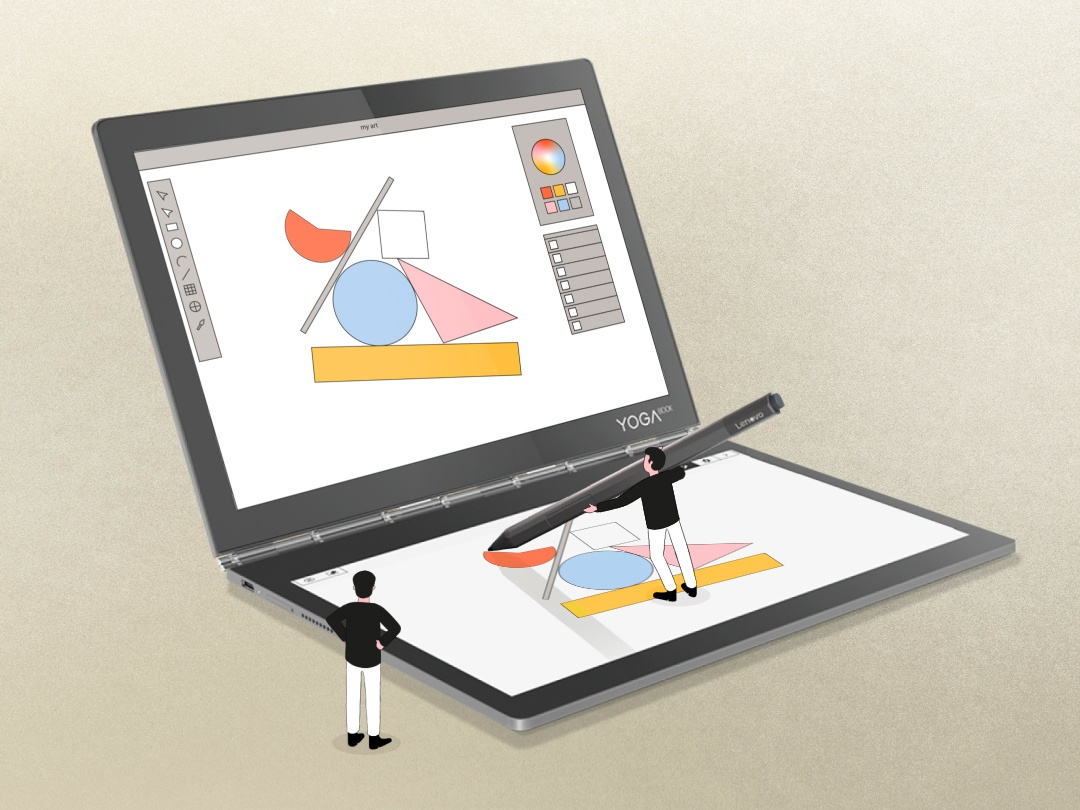 Lenovo - Tiny Gus - Drawing geometric geometry illustrators colors guys tiny animation parallel studio parallel drawing draw computer lenovo