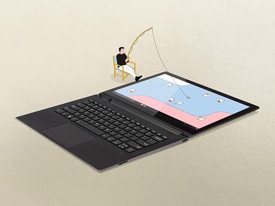 Lenovo - Tiny Gus - Fishing motion design animation fun art parallel studio parallel funny playfull tablette screen pad computer tiny guy fishing fish lenonvo