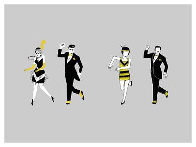 Maquette Henessy2 illustration dance music couple retro vintage charleston dancers dancer dance parallel studio animation