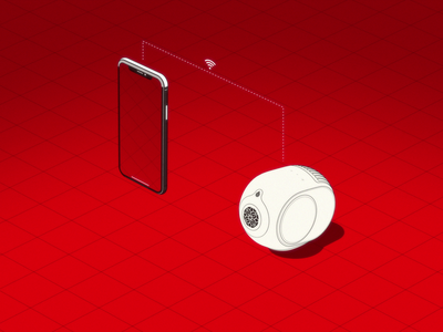 DEVIALET - FIRST ENCOUNTER sound design grid beat music parallel studio illustration 3d isometric futura aira red phone sound