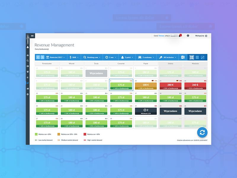Revenue Management calendar quick shot backend revenue management