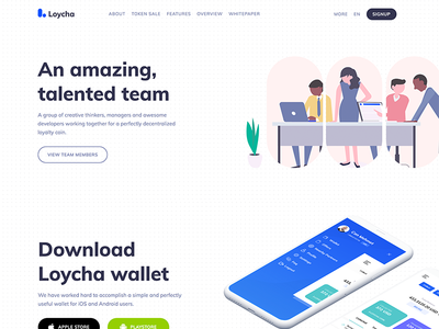 Loycha - Cryptocurrency landing page debut flat web ui landing page cryptocurrency
