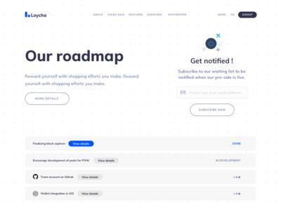Loycha Roadmap ui cryptocurrency roadmap