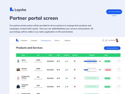 Loycha Partner Portal Screen currency crypto listing admin
