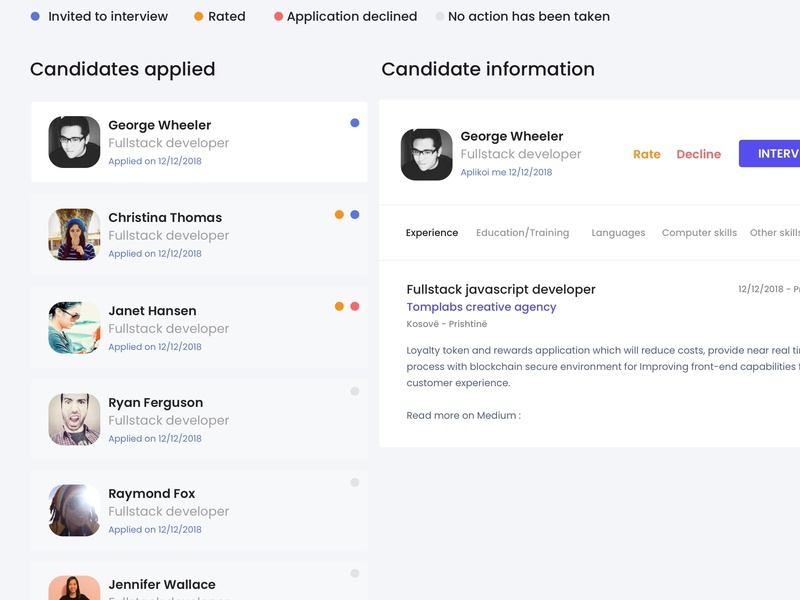 Web application design for Hrbee. design job board nodejs vuejs ux ui job app canidates job application job
