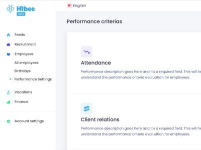 Performance criteria settings