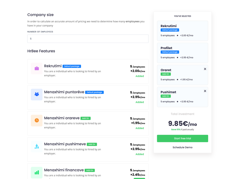 Pricing calculator for HRBee Features pricing table pricing plan features nodejs vuejs calculator pricing
