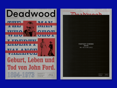 Deadwood Newspapers cinema colors color red typography editorial design editorial design newspaper