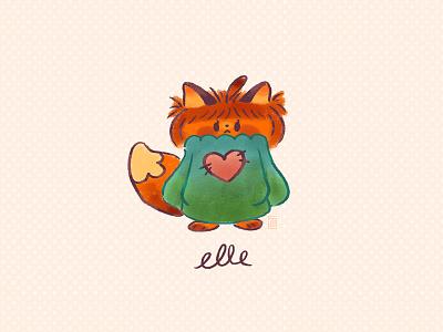 Elle fox digital painting doodle kawaii cute illustration