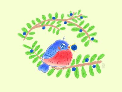 Bluebird doodle bird cute illustration cottagecore