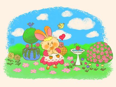 Spring Bunny spring garden cottagecore kawaii cute illustration