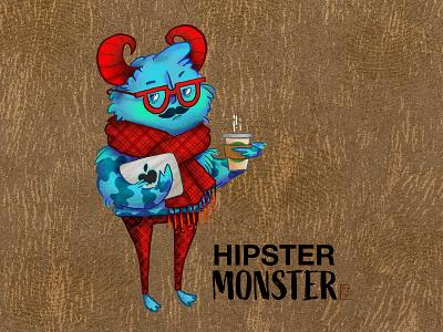 Hipster Monster redraw hipster monster character illustration character design digital painting illustration