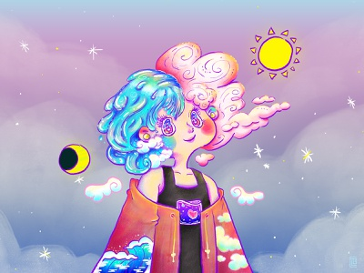 DTIYS Celestial Girl dtiys challenge challenge aesthetic dtiys character illustration characterdesign digital painting kawaii cute illustration