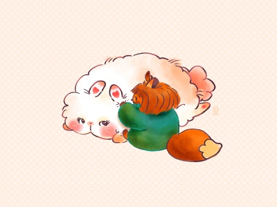 Crème Choux and Elle snuggle fox bunny original character oc character design character art picture book doodle kawaii cute illustration