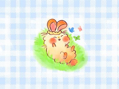 Moufla Butterfly spring oc cute illustration original character scrunchi garden bunny kawaii cute illustration