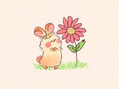 Sniff spring illustration spring flower oc original character bunny character design picture book digital painting doodle kawaii cute illustration