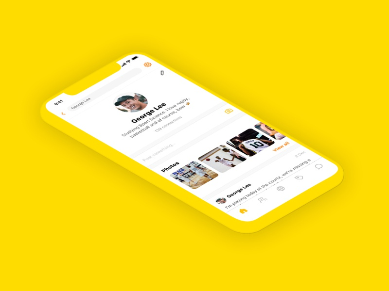 Social media mobile app for University students 👩‍🎓 yellow design social media social agency website london apps mobile ui throwback ux ios app
