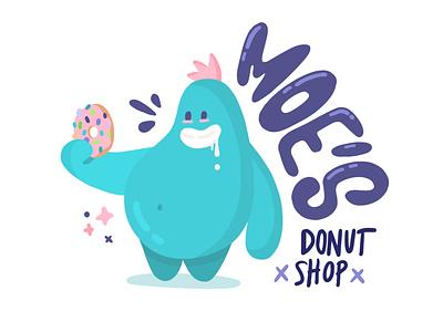 Moe's Donut Shop flat illustration donuts donut donut shop