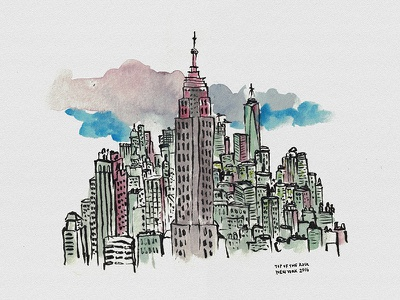 Top of the Rock watercolor urban sketching skyscrapper city top of the rock manhattan usa empire state new york
