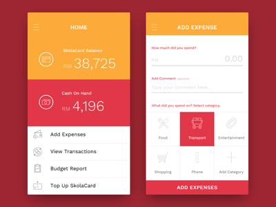 Minimalist Wallet App transactions expense budget phone shopping entertainment transport food balance cash wallet money