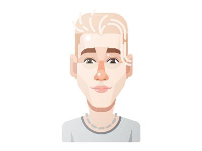 Justin Bieber caricature flat study famous singer vector face illustration justin bieber