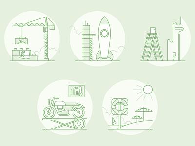 Services Page Illustrations ecommerce umbrella workshop beach rocket ladder paint shopify crane bike simple line