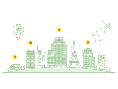 Home Page Line Illustration bricks satellite shopify city merlion eiffel liberty statue building house balloon