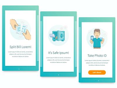 Bank Mobile App Onboarding Gen 1 money male man boy person people illustration id card safes split bill onboarding