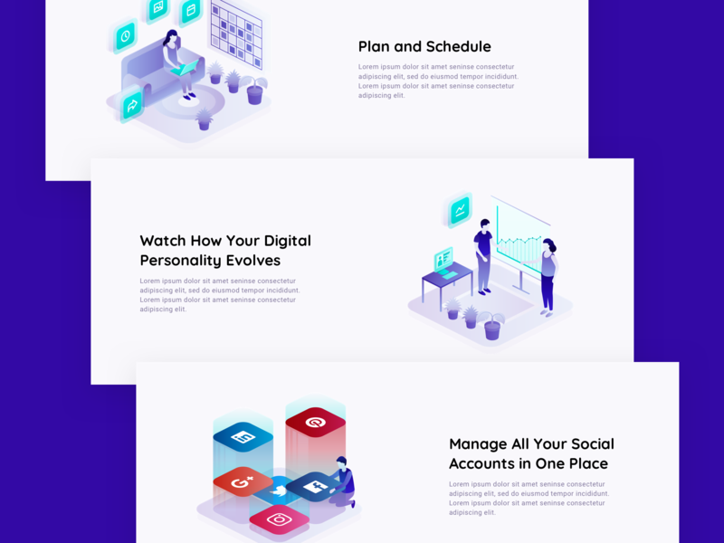 Comity - Features digital shopify sales cloud technology ecommerce social media isometric people flat simple illustration
