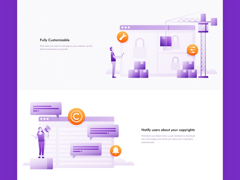 Photolock - Website - Features shopify ecommerce assembling assembly installer building build copyright bubble crane simple minimalist flat people illustration ui