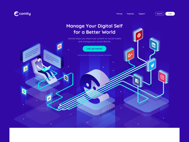 Comity - Website - Landing Page Illustration shopify people ecommerce building social media website web  design isometric flat simple illustration