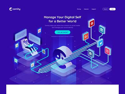 Comity - Website - Landing Page Illustration shopify people ecommerce building social media website web  design isometric flat simple illustration