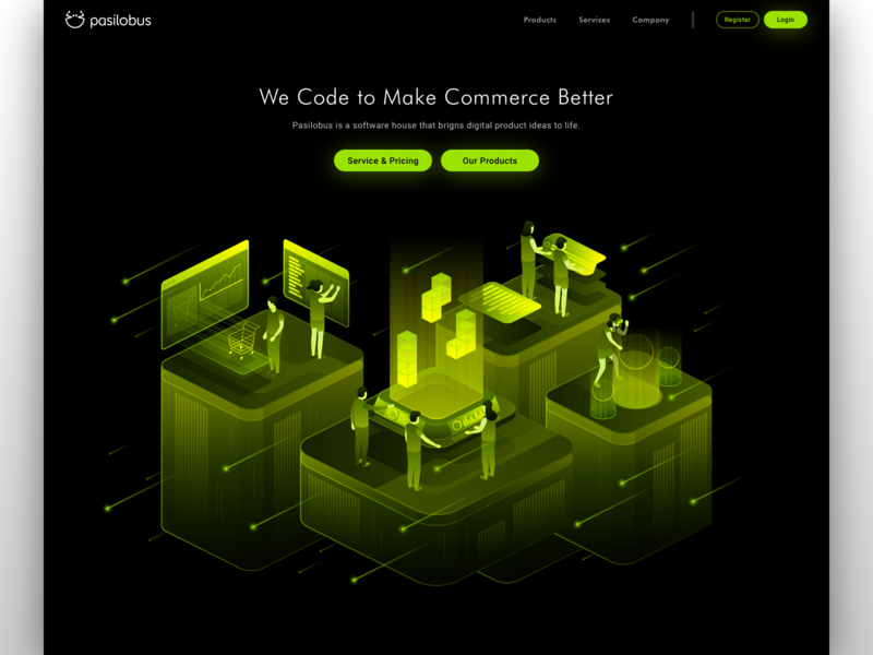 Pasilobus - Website - Main Illustration people hologram touch screen globe shooting stars stars future hi-tech isometric startup aids artificialintelligence technology modern space rocket ecommerce shopify website illustration